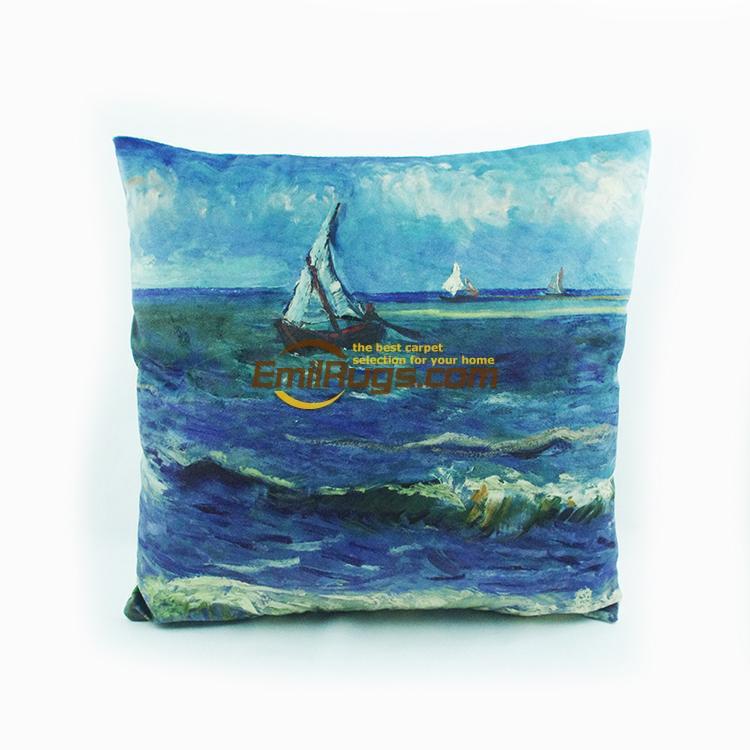 High - grade velvet digital printing Van Gogh waterfront fishing boat pillow cushions 44gc154yg2