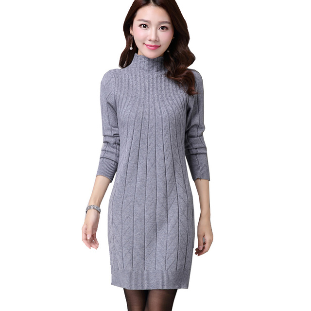594993d90 New Fashion Women Autumn Winter Slim Sweater Dress Female Turtleneck ...