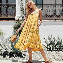 2019 New Summer Fashion Women Wave Fold Bohemia Style Beaded Sling Beach Dress