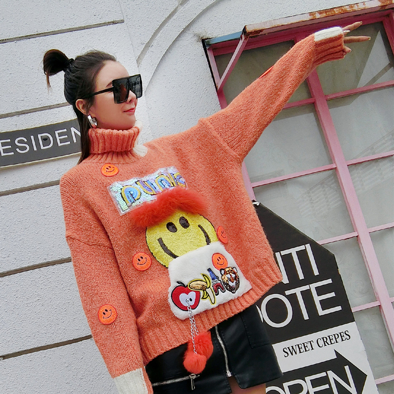 bleu Automne D'hiver Taille Couture Animé Orange Et Fourrure Grande Chandail Lâche Dessin Haut 2018 Tridimensionnelle Nouveau Impression Femmes Col UwRdUq
