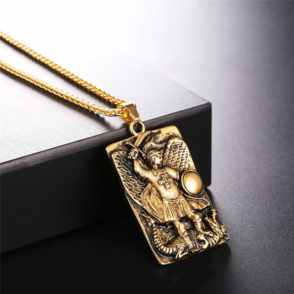 St michael the archangel prayer pendant necklace stainless steel st michael the archangel prayer pendant necklace stainless steelgold color medal necklace blessing gift for menwomen gp2570 in pendant necklaces from aloadofball Images