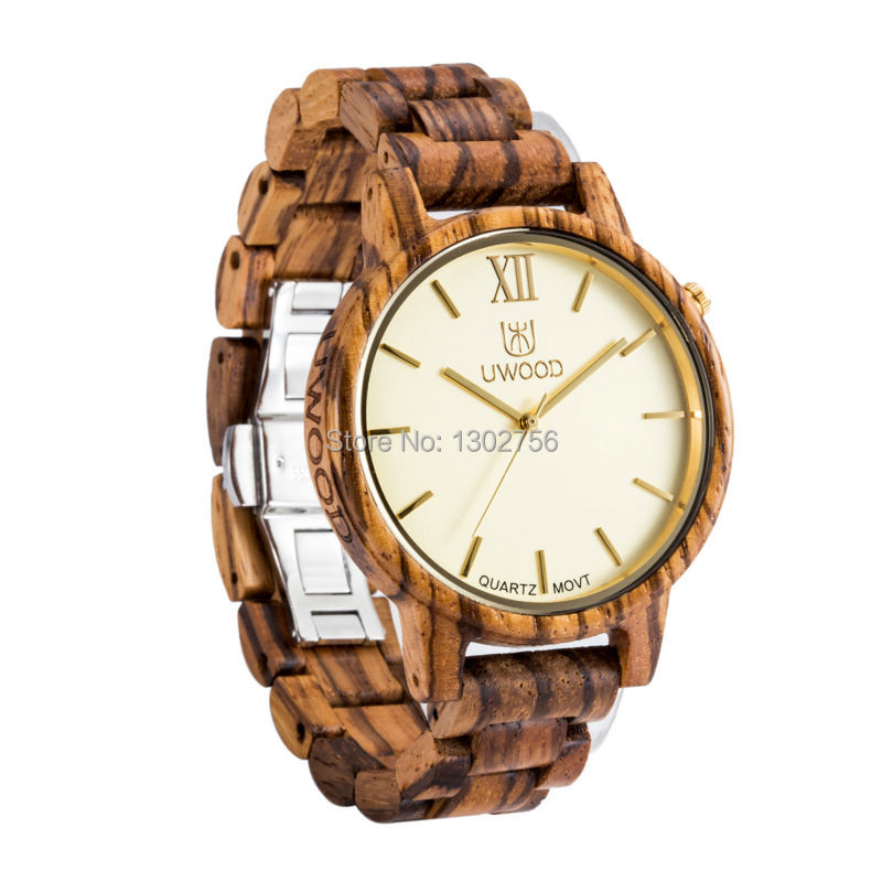 Uwood 2016 Fashion Zebra Sandal Wood 100% Pure Wooden Analog Watch Original Quartz Movement Wooden Watch For Men Gift 2017 pure face design wooden watch for