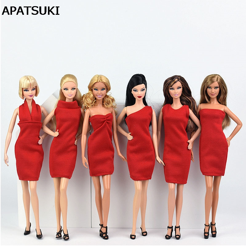 6pcs/lot Red Dress for Barbie Doll Clothes Evening Party Wears Vestidoes Short Dresses for Barbie Doll 1/6 Doll Accessories 2pcs lot doll stand display holder for barbie dolls doll accessories doll support leg holders transparent