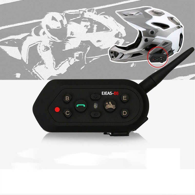EJEAS E6 1300M Motorcycle Helmet Intercom One Pair Bluetooth Walkie-talkie Motorcycle Helmet Intercom Interphone Headset