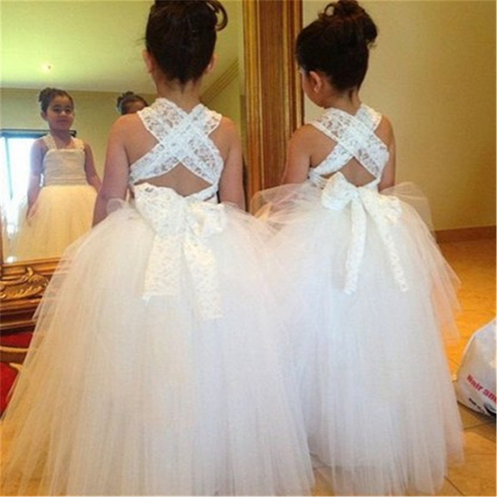 Ivory White Lace   Flower     Girls     Dresses   Ball Gown Floor Length   Girls   First Holy Communion   Dress   Princess   Dress   2-14 Old
