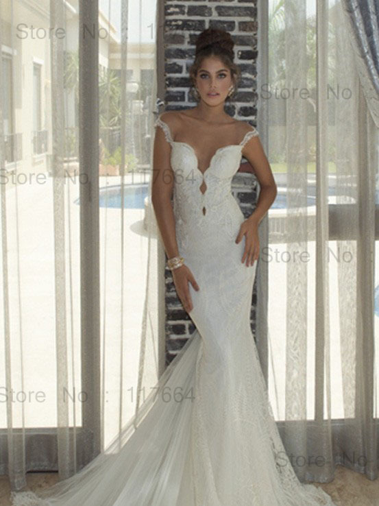 elegant mermaid style sweetheart off shoulder royal train lace wedding dresses designer backless wedding gowns nef15 in wedding dresses from weddings