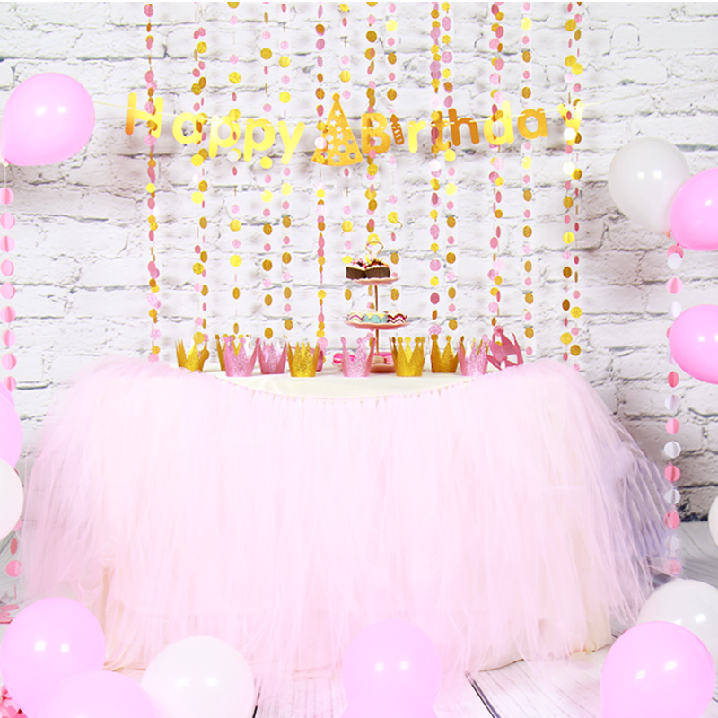 Pink Gold Garland Birthday Crown Party Balloons with Happy Birthday Banner flags for Childen Happy Birthday Decoration Set