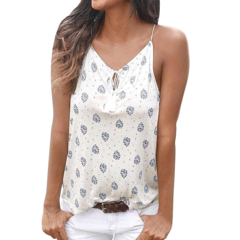 45c6f41622d8f Low Cost MUQGEW XXL Women Summer Print Sleeveless Vest Shirt Tank ...
