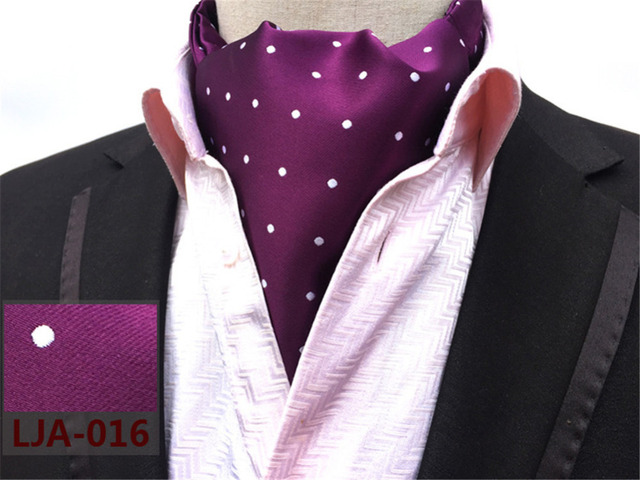 Cityraider Dot Print Designer Men S Silk Cravat Wedding Cravats New Purple Mens Ascot Ties For