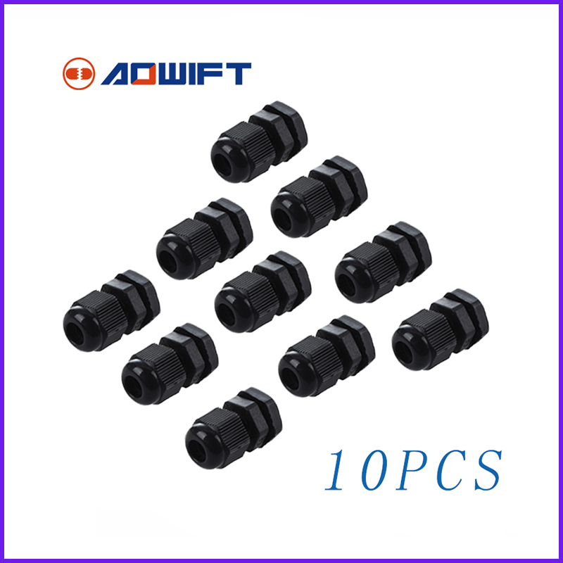 10Pcs PG7 Black Plastic Waterproof passe Cable Gland pasacables wartel kabelverschraubung pg7. m12 PG7 Gland electric joint pg9 2017 freeshipping bending cable glands pg7 pg9 water proof connector white and black color