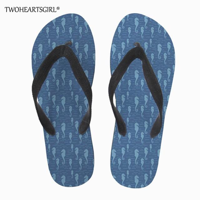 Twoheartsgirl Summer Men Flip Flops Male Seahorse Pattern Slippers Men Casual Flats Shoes Summer Fashion Beach Sandals Shoes