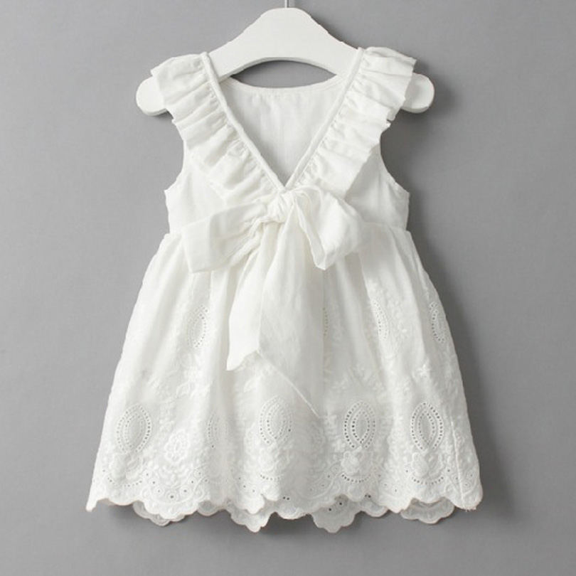 Backless V Big Bow Baby Girl Cotton Dress Summer Sleeveless Princess Party Lace Cute Sweet Girls Dresses Toddler Kids Bobo 2-7Y 2017 new summer toddler kids girls sleeveless t shirt dress children girls elegant lace dresses light blue dress for 3 7y