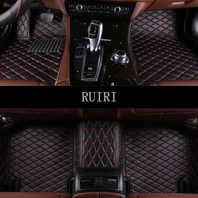 CAR PASS Universal Fit Waterproof Stars Coil Car Floor Mats,Set of 4,Fit for SUV,Vans,Sedans,Elegant Black and White