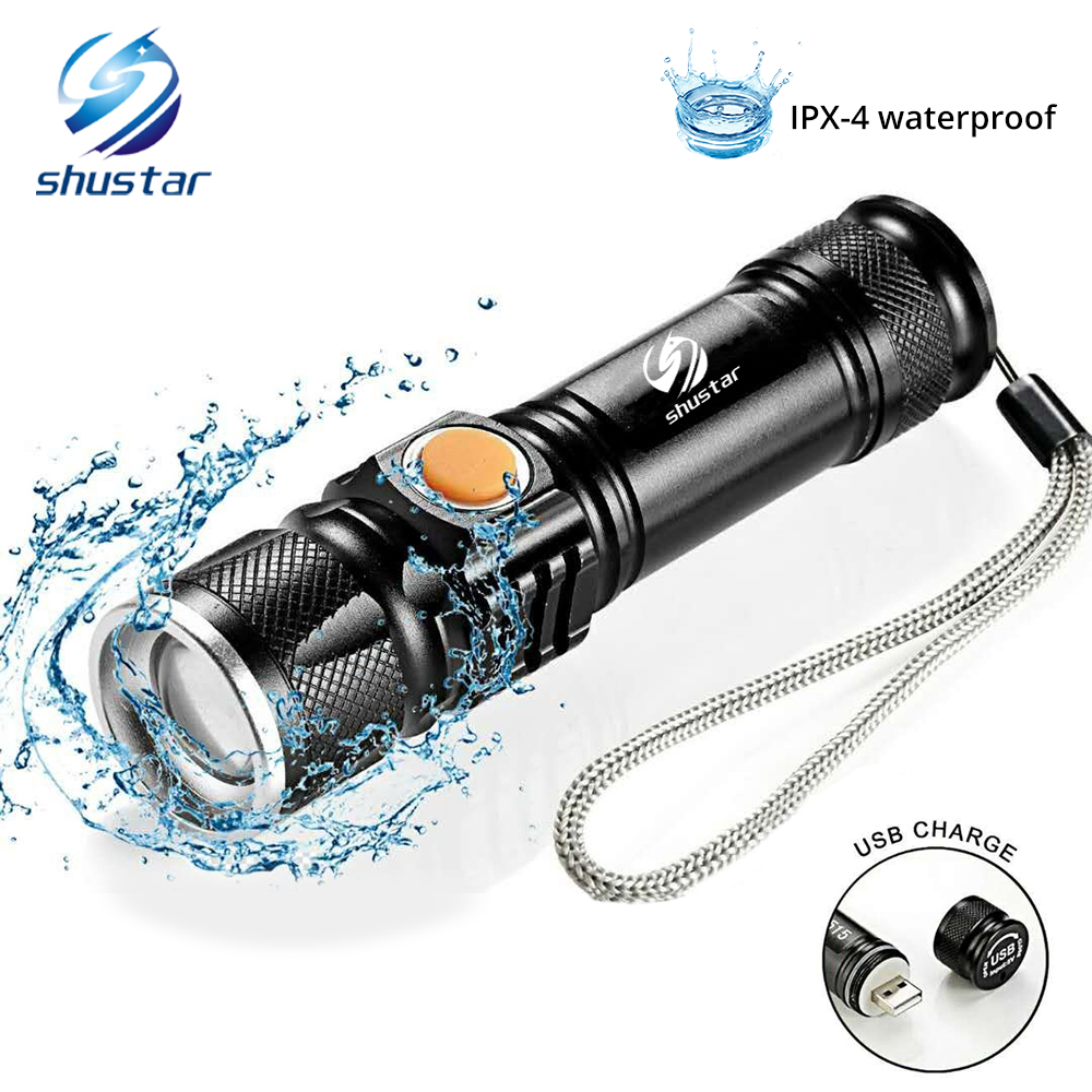 USB À L'intérieur Batterie Cree XML-T6 Puissant 2000LM Led lampe de Poche Portable Lumière Rechargeable Tactique LED Torches Zoom lampe de Poche