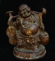 Old Chinese Buddhism Temple Bronze Gilt Maitreya Buddha Ru yi Coin Barrel Statue