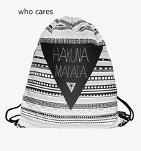 Who Cares Fashion 3D Printing Backpack Women Aztec Hakuna Drawstring Bag Matata Mochila Feminina Casual For