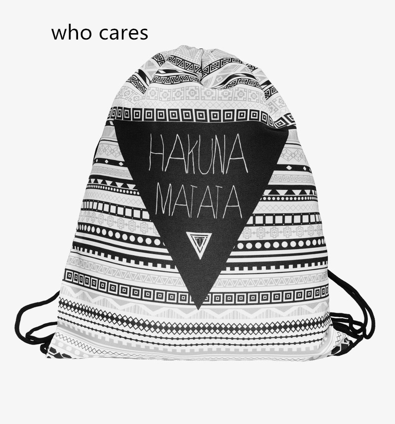 Who Cares Fashion 3D Printing font b Backpack b font Women Aztec Hakuna Drawstring Bag Matata