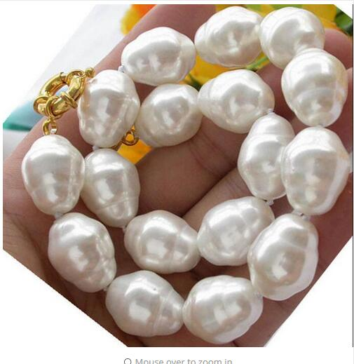 Genuine Stunning jewelry 15-17MM White Baroque Natural SOUTH SEA SHELL PEARL NECKLACE Beads 925 silver wedding Women Gift