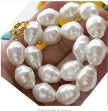 Genuine Stunning jewelry 15-17MM White Baroque Natural SOUTH SEA SHELL PEARL NECKLACE Beads 925 silver wedding Women Gift цена в Москве и Питере