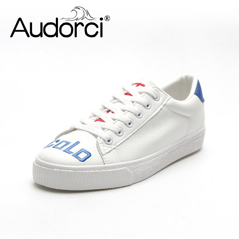 Audorci 2018 Spring Breathable Lace-up Women Shoes Woman Classic Fashion Joker White Low Student Casual Shoe Size 35-40 micro micro 2017 men casual shoes comfortable spring fashion breathable white shoes swallow pattern microfiber shoe yj a081
