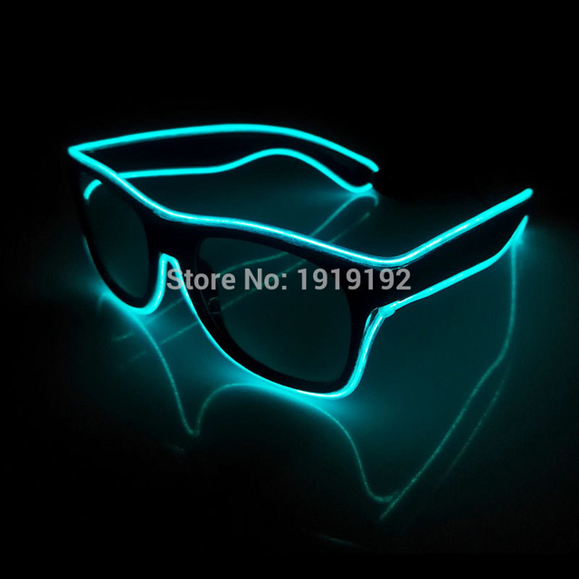 El Wire Glow wireless sunGlasses Led DJ Bright Light Safety Light Up ...