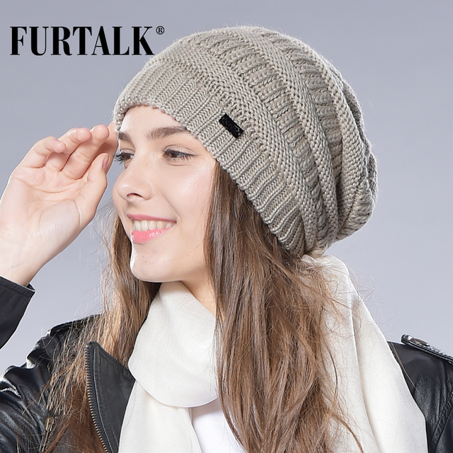 FURTALK Autumn Winter Wool Knit Slouchy Hat for Women and Girls Cross Caps Women Wool Knit Beanie Braided Hats Stocking Hat
