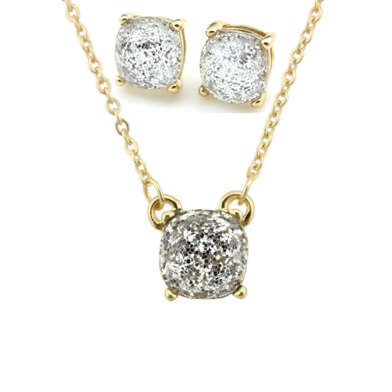 Moda ks altın küçük kare opal glitter kolye küpe setleri - Kostüm mücevherat - Fotoğraf 4
