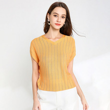 YZ Womens Knit Blouse 2019 New Thin Loose Tencel Short Sleeve Bat Shirt Women