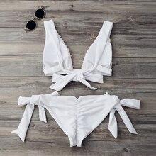 Plunging Neck White Bikini Set