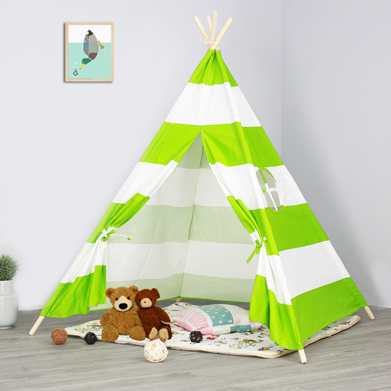 Green Striped Canvas Kids Children Play Indian Teepee Tent Wigwam Tipi Tepee Tee Pee TP Tent все цены