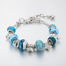 Fashion DIY Crystal Glass Tortoise Star Beads Charm Bracelets For Women Snake Chain Bracelet