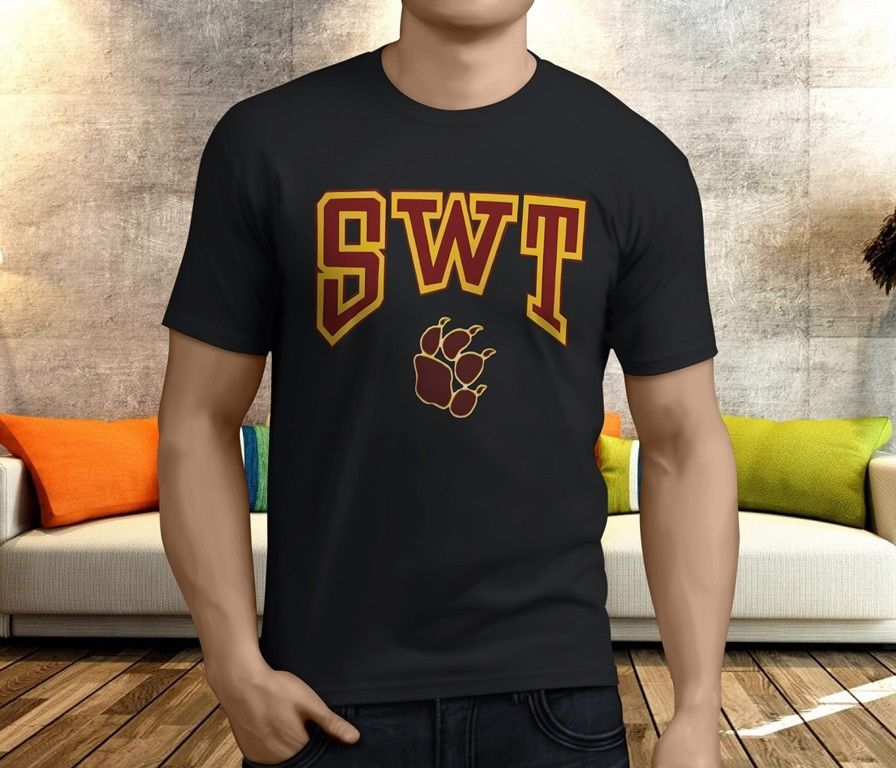 New Cool Southwest Texas State University SWT Mens Black T-Shirt S-3XL