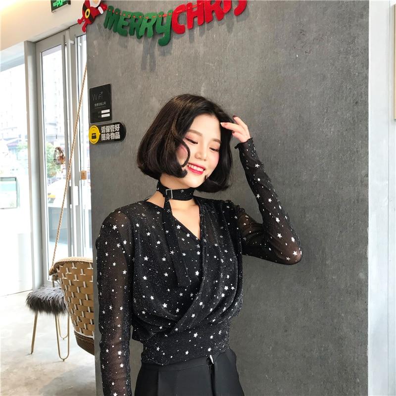 Lychee Girls Sweet Star Print Mesh   Blouse     Shirt   Bandage V-neck Long Sleeve Women   Blouse   Summer Autumn Female   Shirt   Short Top