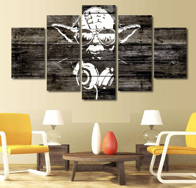 5 pieces star wars music master yoda wall art picture home decoration living room canvas print