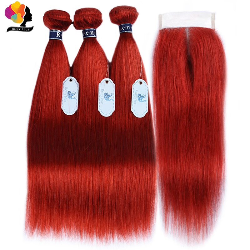Red Bundles With Closure Colored 99J Burgundy Brazilian Hair Straight Human Hair 3 Bundles With Closure