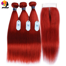 Red Bundles With Closure Colored 99J Burgundy Brazilian Hair Straight Human 3 Remyblue Remy Weave