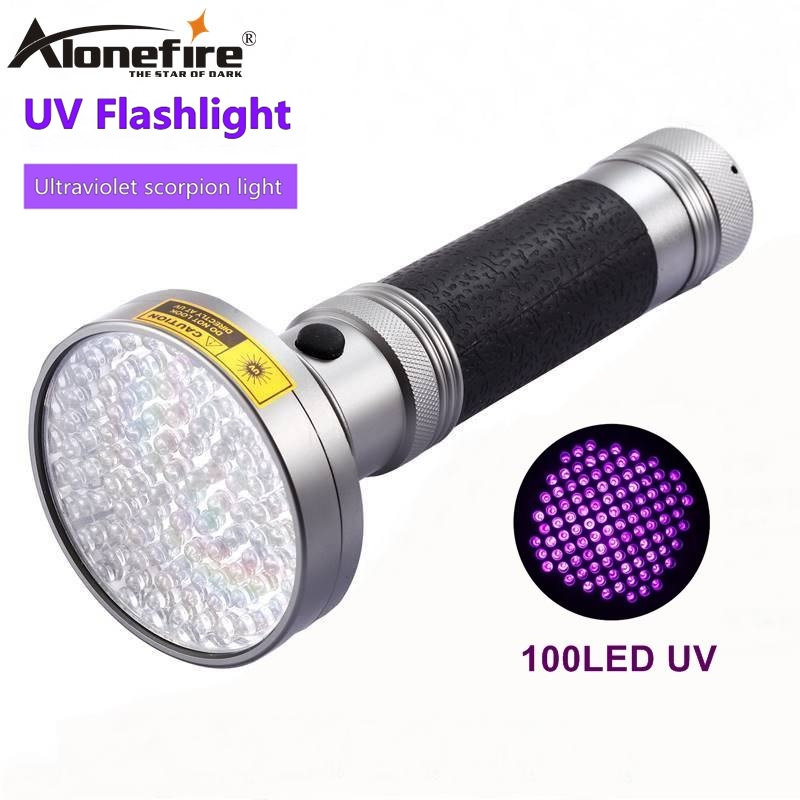 AloneFire 18W 100Led High power UV Flashlight torch 395nm ultraviolet scorpions pet urine Leakage Detection led light AA Battery