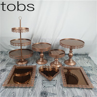 mirror cupcake mirror cake stand set silver & gold & white & red brown color display sweet cake decoration