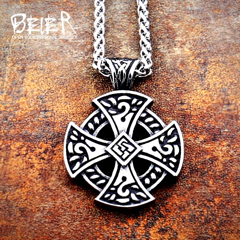 Beier 316L stainless steel Thor The Dark World Hammer Pendant Necklace Gothic Punk Vintage nose Vikings  Jewelry  LP113