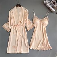 Female Twinset Robe Set Summer Sleepwear Lace Nightgown Sexy Satin Kimono Bathrobe Bride Bridesmaid Wedding Dressing Gown M XL