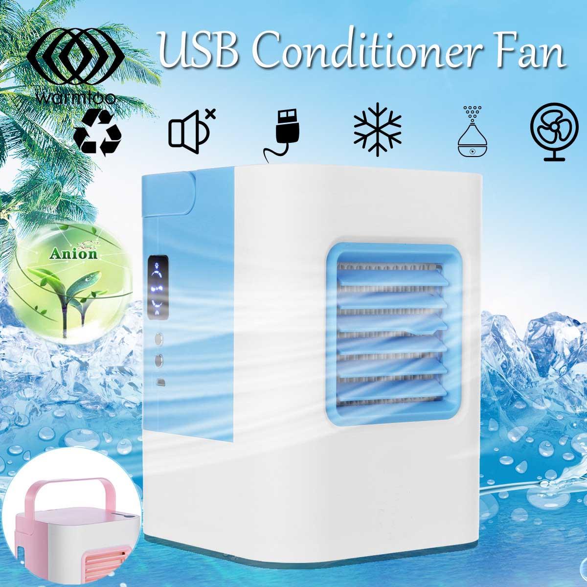 Mini Air Conditioner Cooling Fan Mobile Portable Refrigeration Conditioner Fan Cooler Home Desktop Fan Personal USB Humidifier portable usb no leaf fan mini bladeless refrigeration desktop air conditioner y05 c05