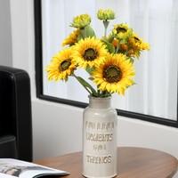 1 Bouquet 9 Heads Yellow Silk Sunflower Decorative Fake Flower Artificial Flower Bouquet Floral Garden Home