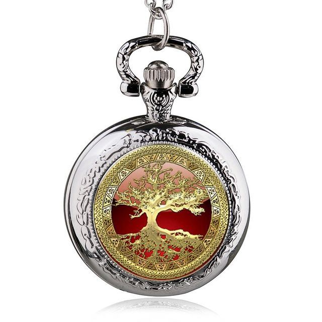 Antique Steampunk Copper Life Tree Pattern Necklace Pendant Pocket Watch Charms