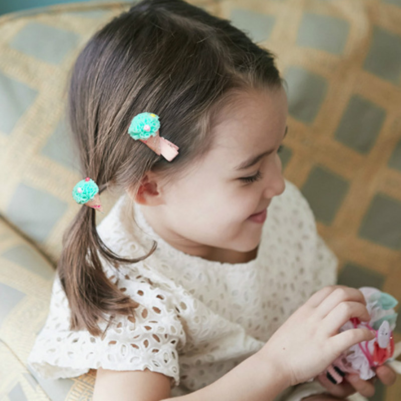 New Childrens Candy Color Cartoon Clip Coth Treasure Hairpin Cute Ice Cream Hair Head Shape Hair Clip Acessorio De Cabelo T