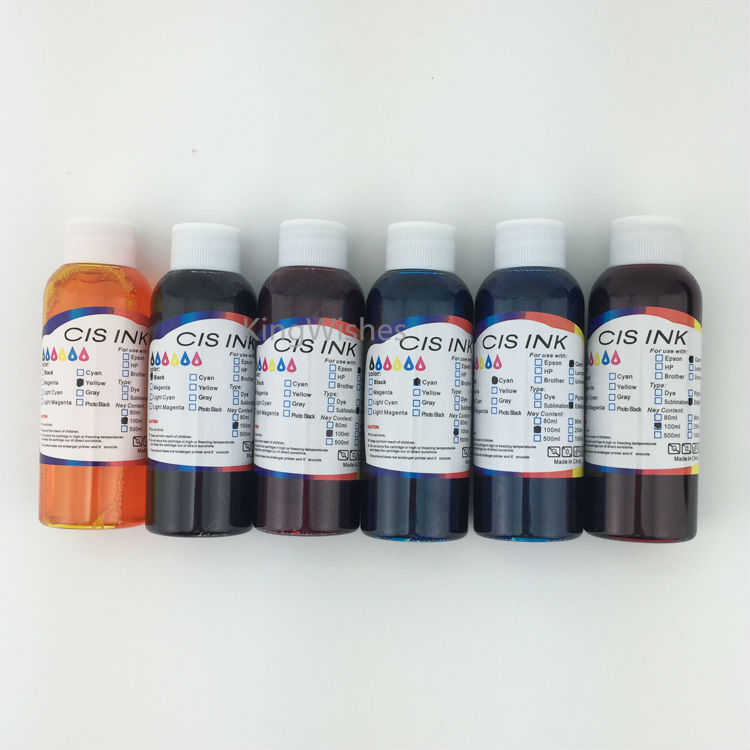 Free Shipping 100ML x 6 Color Printer T0781-T0786 Edible Ink For Epson R260 R380 R280 RX580 RX680 RX595 A50 Inkjet Printer free shipping 9 litre a set ciss refill submation ink for epson a3 inkjet r3000 printer ink