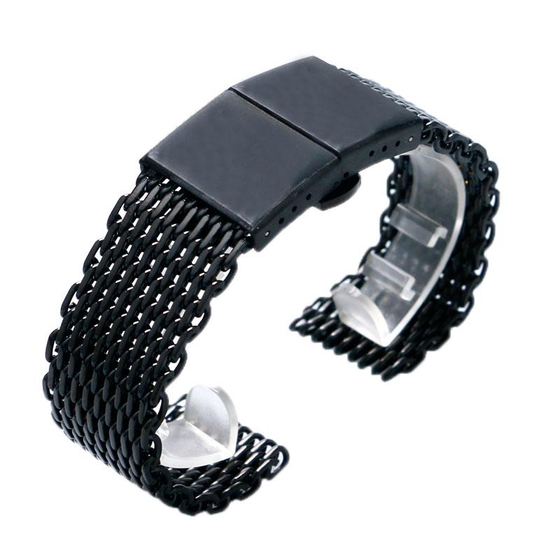 где купить 2018 New Black Stainless Steel Shark Mesh 22mm Band Strap Bracelet Watch Band Push Button Hidden Clasp for Men High Quality по лучшей цене