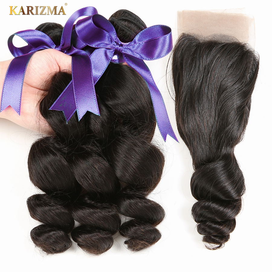 Karizma Indian Loose Wave 3 Bundles With Closure Free Part Non Remy Human Hair Weave Bundles