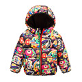 2016 New Winter Children's Jackets Girls Hooded Coats Cartoon Print Boys Down Parkas Thick Warm Kids Brand Outwear Outdoor SC594