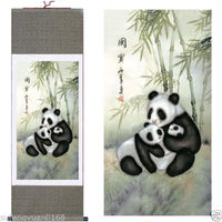 40Chinese SuZhou Silk Art Panda Decoration Scroll Painting Drawing S097 Wall adornment murals home decoration