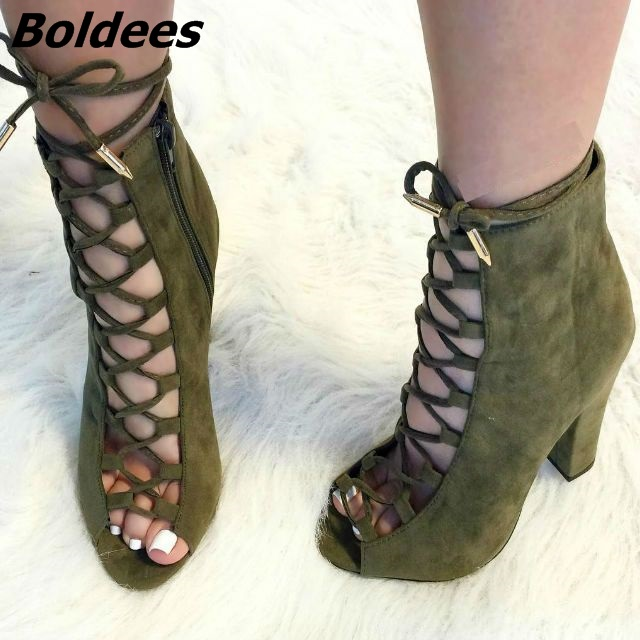 Fancy Cross Strap Peep Toe Block Heel Dress Shoes Pretty Women Olive Suede Cut-out Lace Up High Heels Classy Chunky Heel Pumps simple women s pumps with chunky heel and suede design